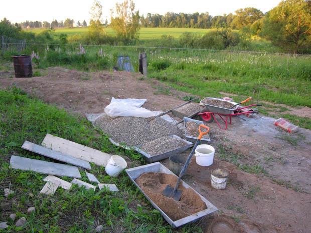Площадка для приготовления бетона
