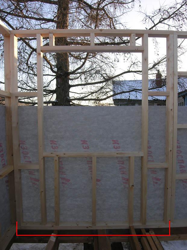Каркасная конструкция стены