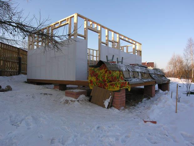 Каркас дома - фасадная часть