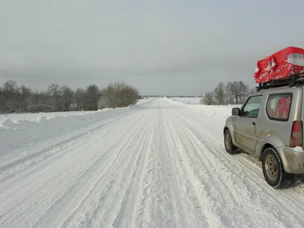 Дорога в деревню зимой