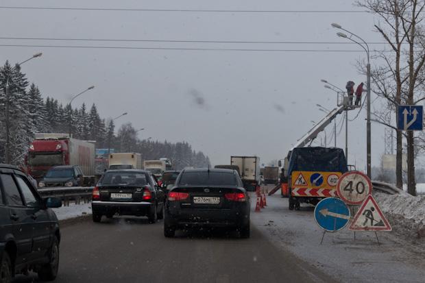 пробка на дороге из-за электриков