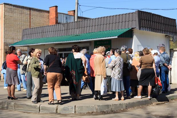 очередь за картошкой в Тимирязевской академии