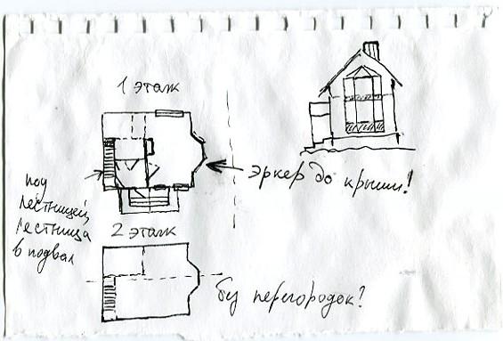 Набросок проекта дома на клочке бумажки