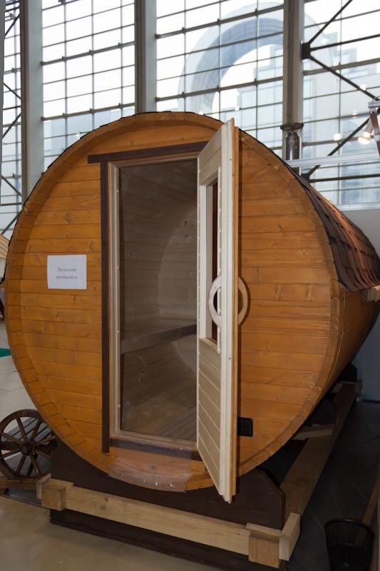 Круглая баня в виде бочки