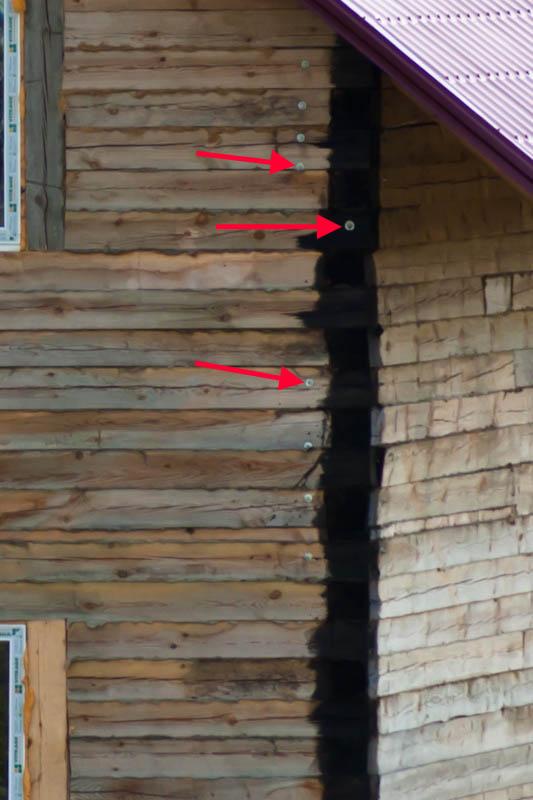 стянуть угол брусового дома