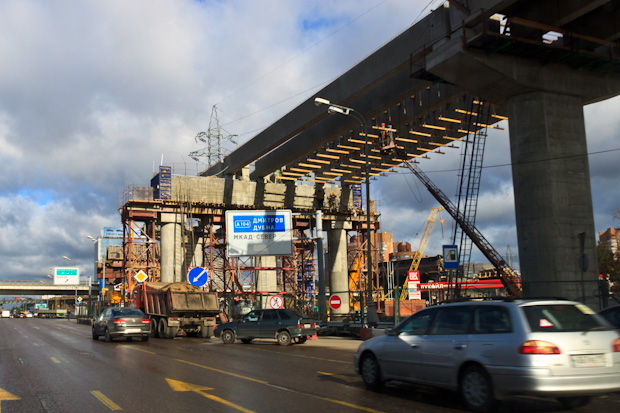 стройка новой развязки на Ленинградке, у МКАД-а