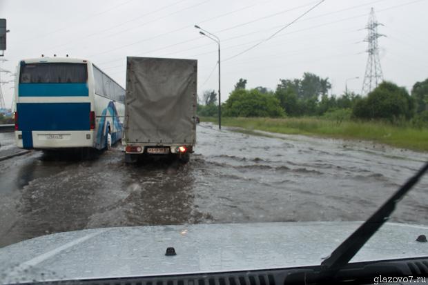 Жуткая лужа перед путепроводом на ленинградке
